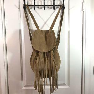 Aphorism Tan Leather Fringe Drawstring Backpack